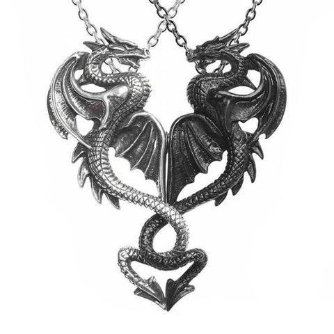 Draconic Tryst: Pewter Dragons Friendship Pendant | Happy Piranha