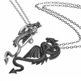 Draconic Tryst: Pewter Dragons Friendship Pendant on Separate Chains | Happy Piranha
