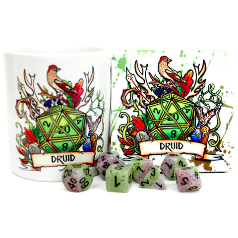 Dungeons and Dragons (DnD) Customisable Class Dice Mug & Coaster Set (Druid) | Happy Piranha