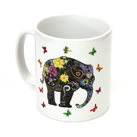 Henna art elephant coffee mug by Happy Piranha