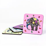 Henna art elephant drinks coaster set by Happy Piranha