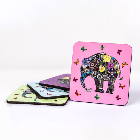Henna Art Elephant: Premium Cork Backed Coaster