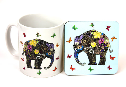 Henna art elephant mug and blue coaster by Happy Piranha