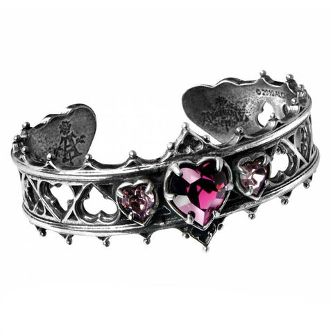 Elizabethan Hearts Pewter and Swarovski Crystal Bangle | Happy Piranha