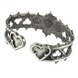 Elizabethan Hearts Pewter and Swarovski Crystal Bangle Inside Profile | Happy Piranha