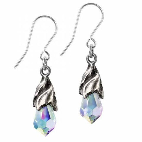 Empyrean Tears: Pewter and Swarovski Crystal Dropper Earrings | Happy Piranha