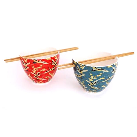Sacred Crane Rice Bowl With Chopsticks - Inspired by Japan | Happy Piranha