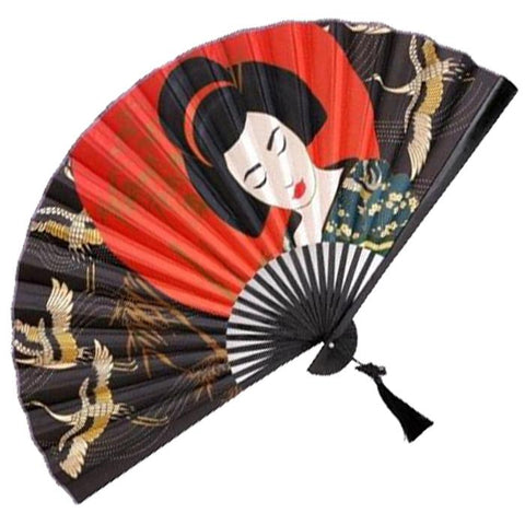 Geisha and Cranes Wall Fan Diagonally Placed - Inspired by Japan | Happy Piranha
