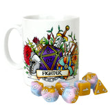 Dungeons and Dragons (DnD) Customisable Class (Fighter) Dice Mug | Happy Piranha