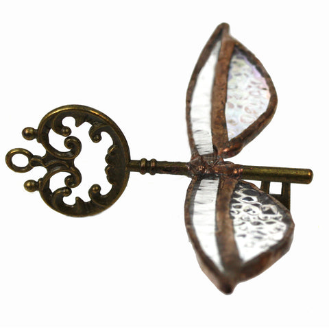 Hand Cut Glass Magic Flying Key decoration, bronze with frosted wings | Happy Piranha
