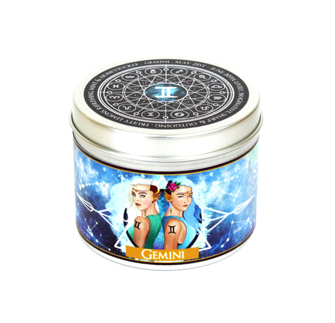 Gemini zodiac star sign scented candle by Happy Piranha.