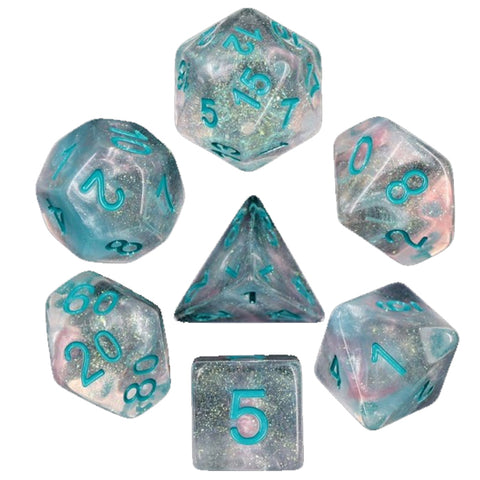 Glitter Poly Dice Set - Winter Walker (Blue and Glitter) | Happy Piranha
