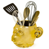 Large Gold Plated Ceramic Monkey Head Pot With Utensils Inside | Happy Piranha