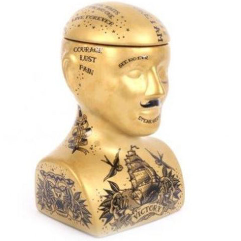 Large Gold Tattoo Phrenology Head Storage Jar | Happy Piranha