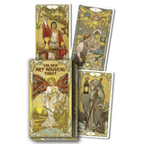 Golden Art Nouveau Gold Foil Tarot Set Box and Card Examples  | Happy Piranha