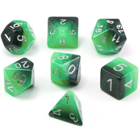 Gradient Poly Dice Sets - Verdant Fate (Green) | Happy Piranha