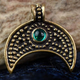 Green Stone Lunula: Bronze Viking Age Pendant | Happy Piranha