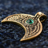 Green Stone Lunula: Bronze Viking Age Pendant Side View | Happy Piranha