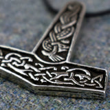Jorvik Thor's Hammer (Pewter) Viking Pendant Closeup | Happy Piranha
