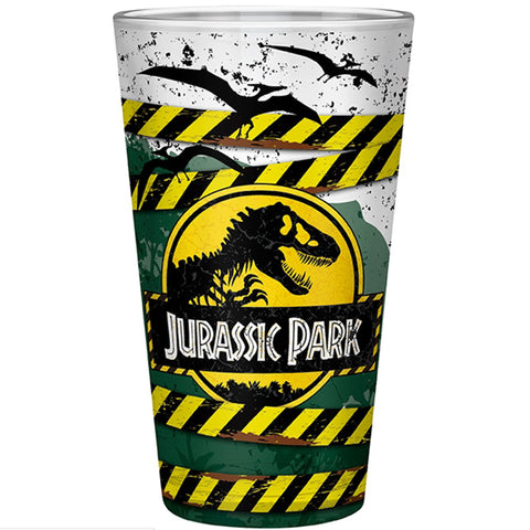 Large Jurassic Park High Voltage Drinking Glass Front Design | Happy Piranha