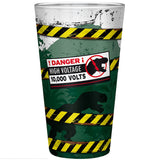 Large Jurassic Park High Voltage Drinking Glass Back Design | Happy Piranha