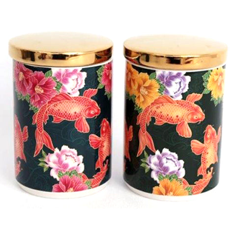 Koi Carp Fish Design Canister/ Tea Caddy - Inspired by Japan | Happy Piranha