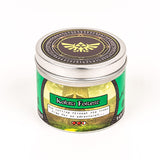 Happy Piranha green kokiri forest scented candle front shot