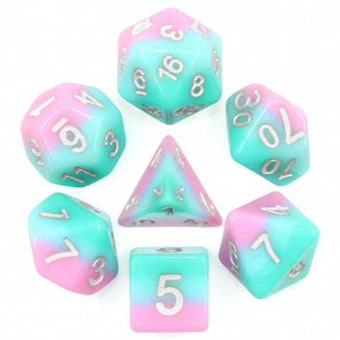 Layered Pastel Poly Dice Set - Bubblegum Rollers (Blue and Pink | Happy Piranha