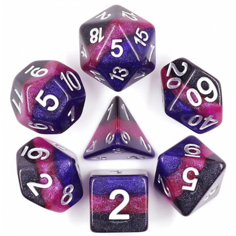 Premium Layered Poly Dice Set - Deep Space (Black and Purples) | Happy Piranha