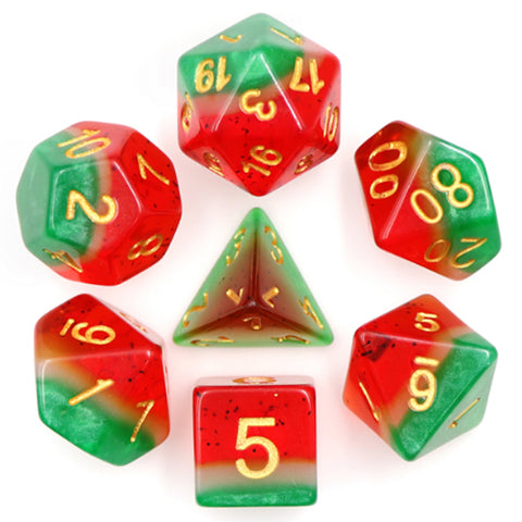Premium Layered Poly Dice Set - Watermelon (Green, White and Red) | Happy Piranha