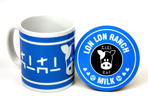Blue lon lon ranch zelda inspired mug ans coaster by Happy Piranha