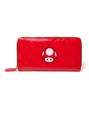 Super Mario Mushroom Embossed Shiny Red Clutch Purse | Happy Piranha