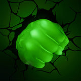 Marvel Hulk Fist 3D Wall Light Glowing Green in a Dark Room | Happy Piranha