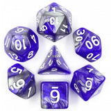 Liquid Steel Poly Dice Sets - Azure Forge  (Blue and Silver ) | Happy Piranha