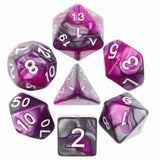 Liquid Steel Poly Dice Sets - Amethysts Edge (Purple and Silver ) | Happy Piranha
