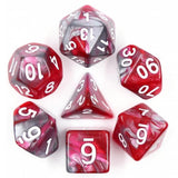 Liquid Steel Poly Dice Sets - Blooded Blade (Red and Silver ) | Happy Piranha
