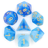 Blue Milky Poly Dice Set | Happy Piranha