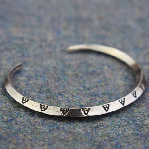 Money Ring Triangle Pattern Pewter Viking Bangle | Happy Piranha
