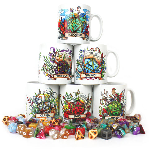 6 Set: Dungeons and Dragons (DnD) Customisable Class Dice Mug
