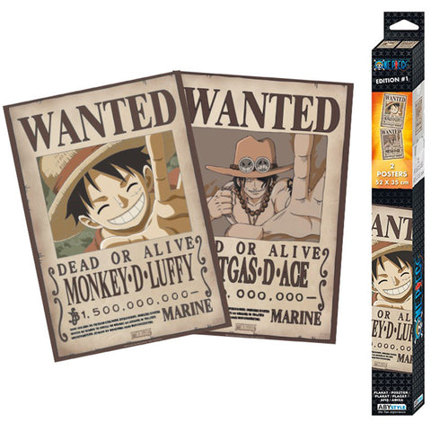One Piece Wanted Poster 2 Set - Luffy & Ace | Happy Piranha