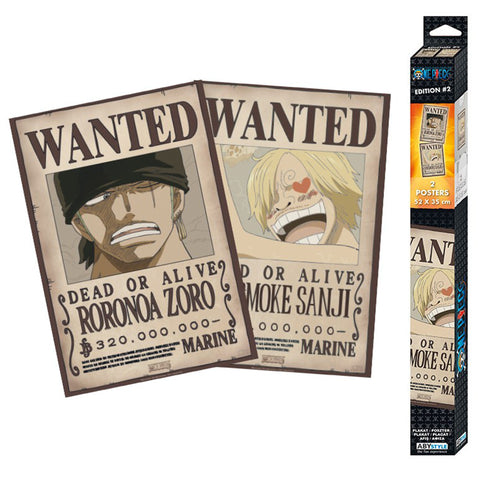 One Piece Wanted Poster 2 Set - Zoro & Sanji | Happy Piranha