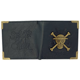 Premium One Piece Skull and Crossbones Bifold Wallet Exterior Design | Happy Piranha