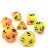 Orange and yellow blend glow in the dark poly dice | Happy Piranha