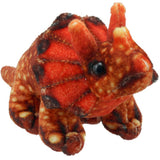 Orange Triceratops Dinosaur Finger Puppet Side Profile | Happy Piranha