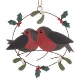 Pair of Robins in a Ring Hanging Christmas Decoration | Happy Piranha