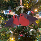 Pair of Robins in a Ring Hanging Christmas Decoration in a Christmas Tree  | Happy Piranha