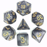 Pearl Poly Dice Set (Black and White) | Happy Piranha