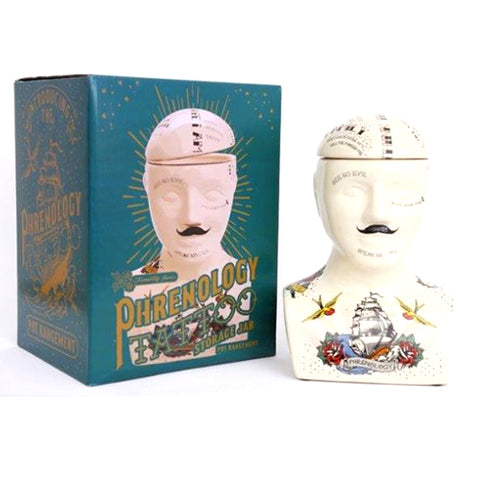 Tattoo Phrenology Head Storage Jar (Large) | Happy Piranha