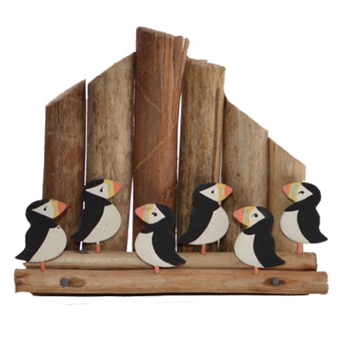 Puffins Sitting On A Coastal Groin Wood & Metal Ornament | Happy Piranha
