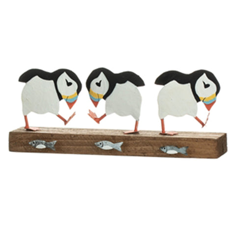 Puffin Party Wood and Metal Ornament